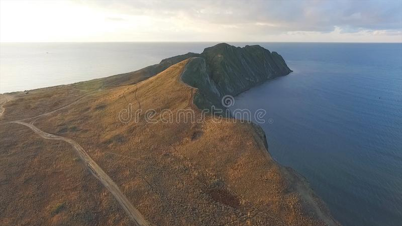 Aerial view of beautiful seascape in Malaysia. Shot. Aerial view on rocky or cliffy coast somewhere in Malaysia stock photo