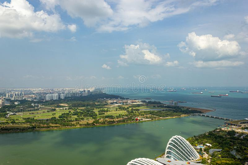 Aerial view of beautiful Singapore with nice white clouds, Singapore royalty free stock photo
