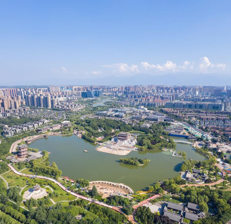 Aerial view of  beautiful tang dynasty style lake park in xian royalty free stock photography