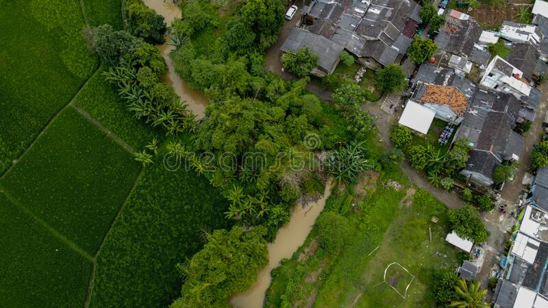 Aerial view beautiful terraced rice fields and residential, Tangerang, Indonesia stock image