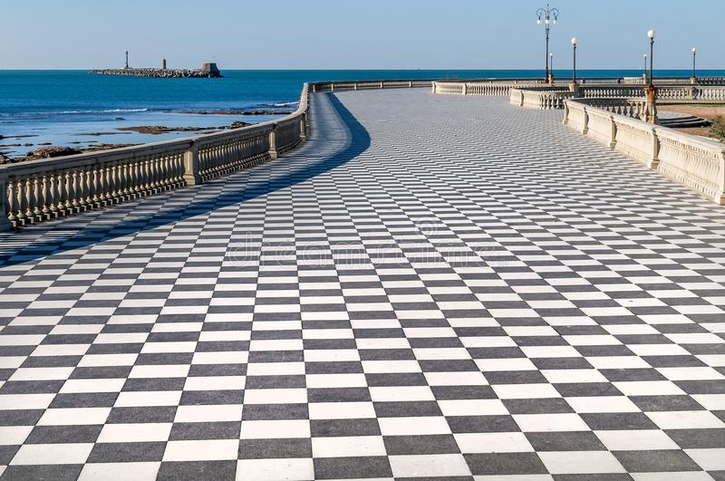 Aerial view of the beautiful Terrazza Mascagni of Livorno without people, Tuscany, Italy royalty free stock photo