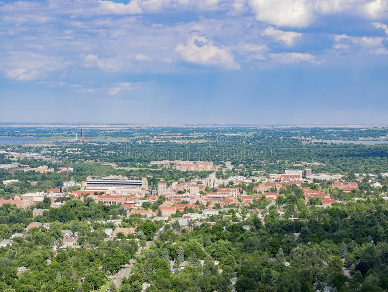 Aerial view of the beautiful University of Colorado Boulder stock photography