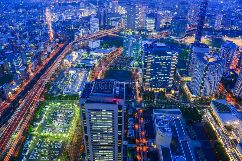 Aerial view of beautiful Yokohama cityscape royalty free stock photo