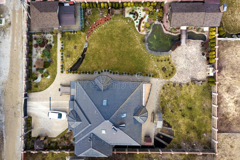 Aerial view of beautifully landscaped property complex. Roofs of recreation house cottage, pond in ecological area on bright sunny stock image