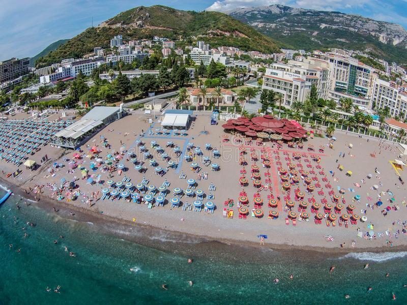 Aerial view of Becici beach in Budva town, Montenegro royalty free stock photo