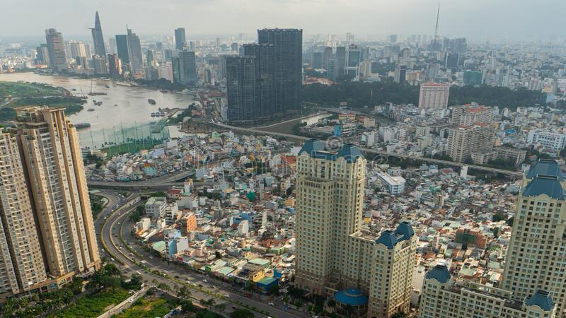 Aerial view in Ben Thanh District and District 1, Ho Chi Minh City stock images