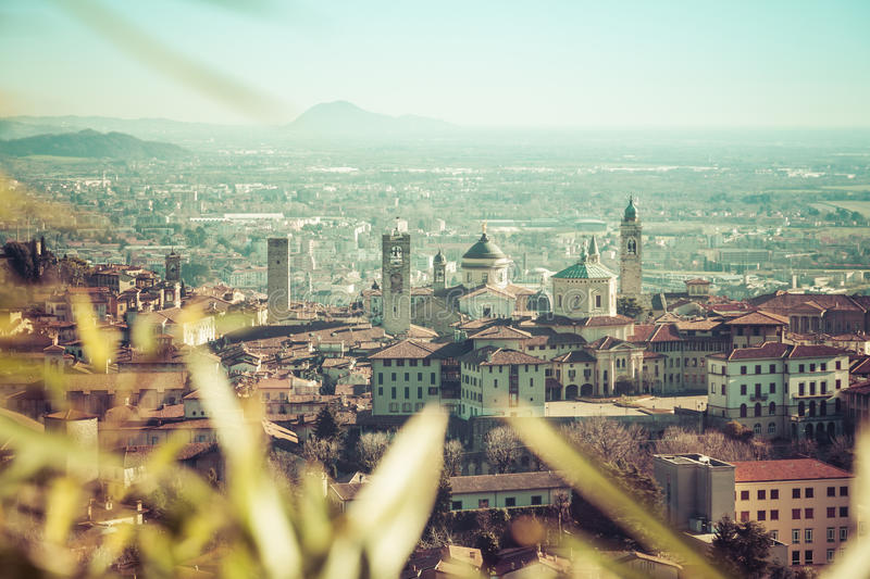 Aerial view of Bergamo stock photography
