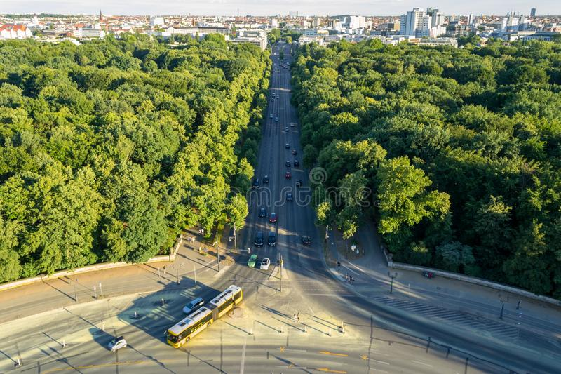 Aerial view of Berlin, Germany, as seen from the Victory Column .Siegessäule tower, in a Summer afternoon stock photos