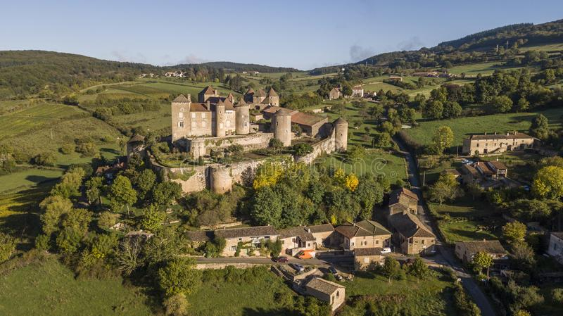 Aerial view of Berze castle, the biggest and oldest fortress in South Burgundy. France royalty free stock photography