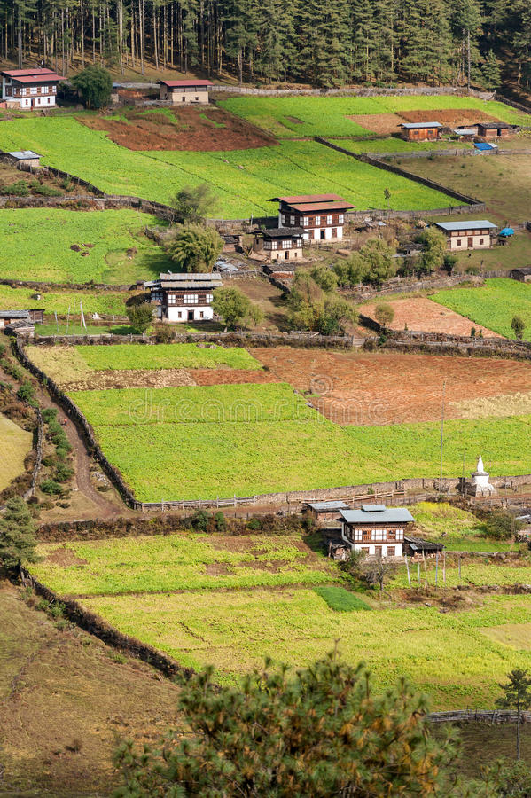 Aerial view of Bhutanese village royalty free stock image