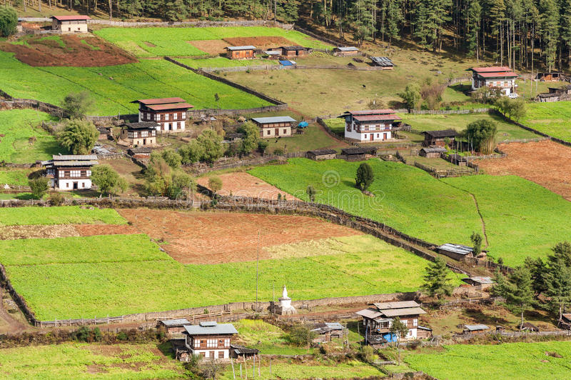 Aerial view of Bhutanese village stock photo