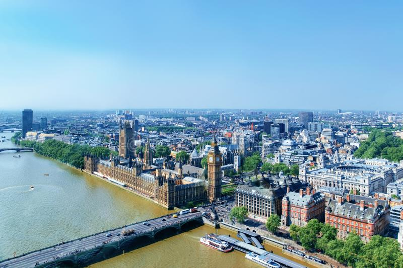 Aerial view of Big Ben at Westminster Palace London. Aerial view on Big Ben at Westminster Palace in London old town in United Kingdom. Thames River in city royalty free stock photography