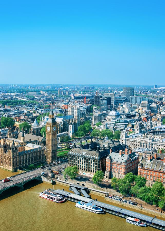 Aerial view on Big Ben at Westminster Palace London. Aerial view on Big Ben at Westminster Palace in London old town in United Kingdom. Thames River in city royalty free stock images