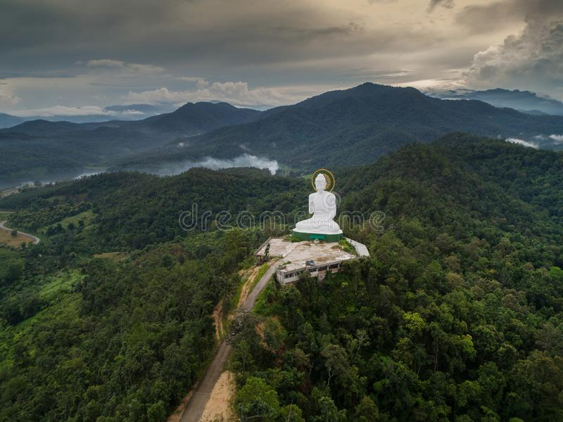 Aerial view of Big Buddha on mountain royalty free stock images