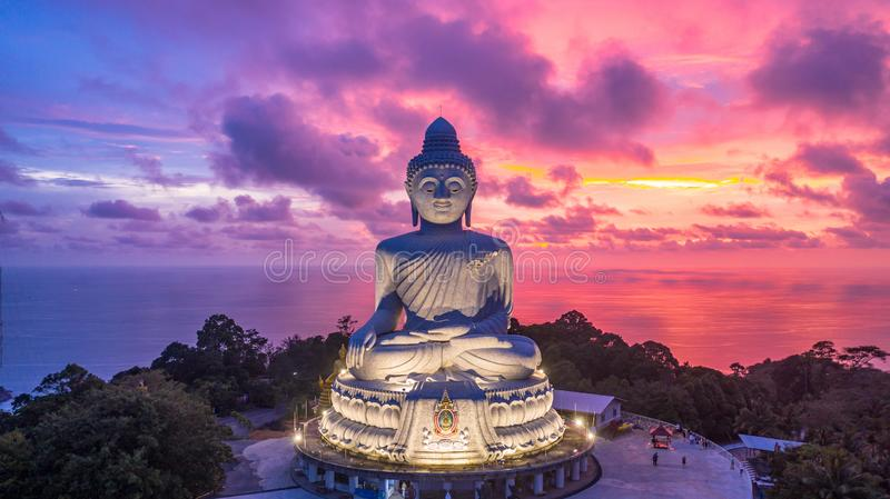 Aerial view Big Buddha at twilight, Big Buddha landmark of Phuket, Phukei Island, Thailand.  royalty free stock photos