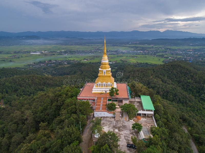 Aerial view of Big pagoda on mountain royalty free stock photo