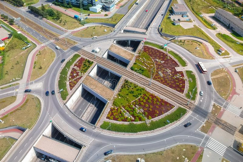 Aerial view of big roundabout at the tunnel in Gdansk, Poland royalty free stock image
