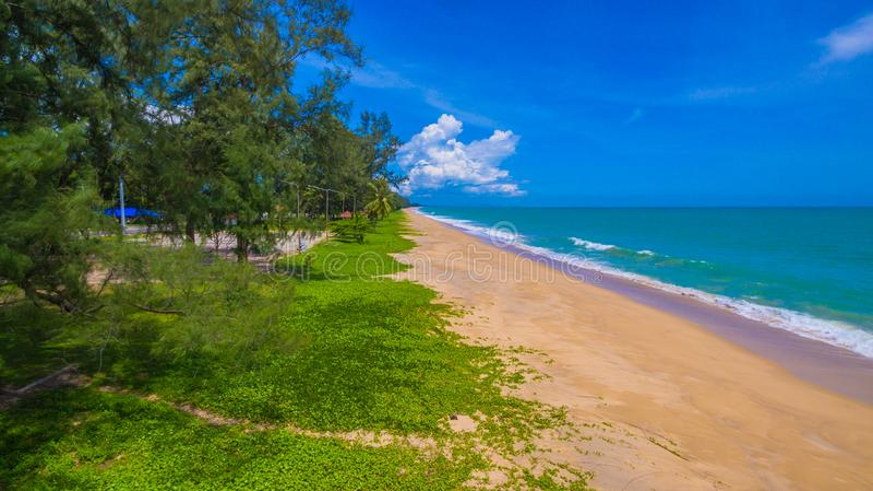 Aerial view big waves from Andaman sea hit on long beach at Tay Muang in Phang Nga province. Big waves from Andaman sea hit on long beach at Tay Muang in Phang royalty free stock image