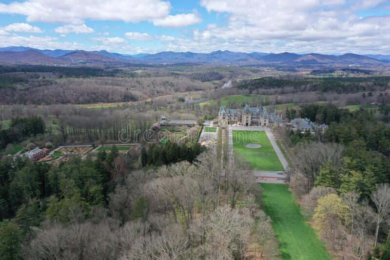 View of Biltmore Estate and Gardens stock photos