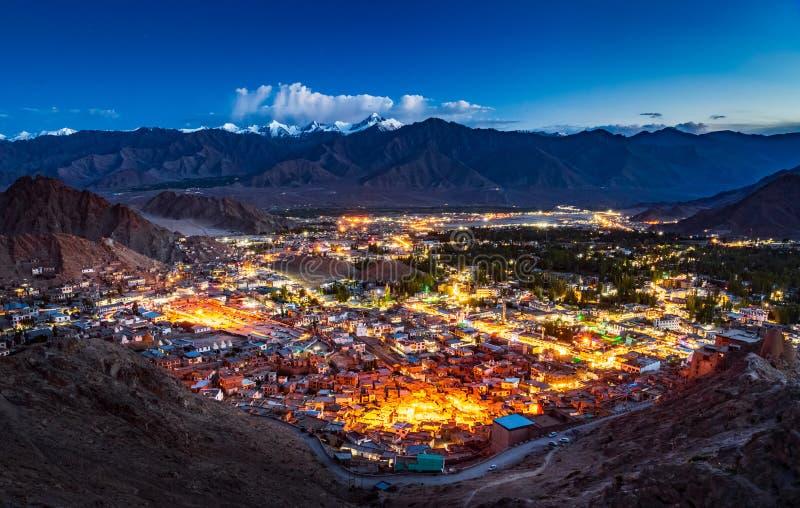 Aerial view of Leh city at night, Ladakh, India stock image