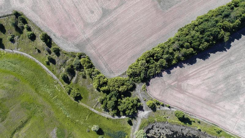 Aerial view of the plowed field stock image