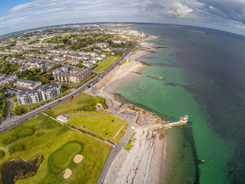 Aerial view of Blackrock beach with Diving tower in Salthill stock photography