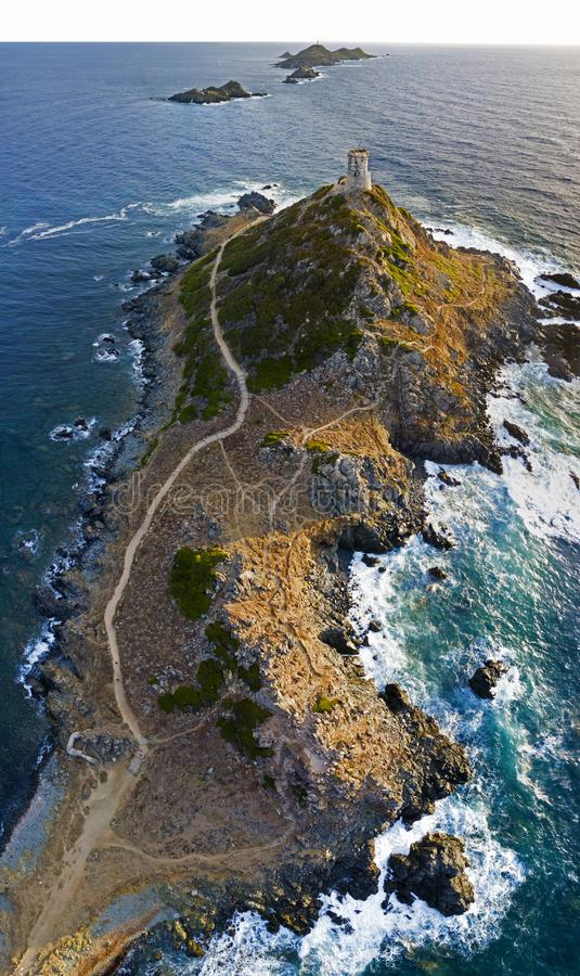 Aerial view of the Bloods Islands and Parata Tower, Corsica. France. Aerial view of the Bloods Islands and Parata Tower, the Genoese tower built in 1608 royalty free stock photos