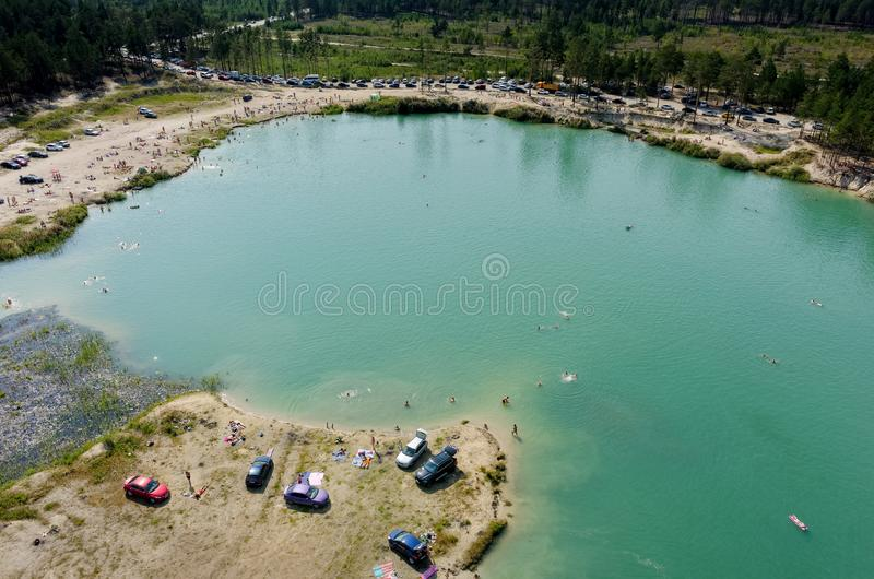 Aerial view of Blue Lake beach in Tyumen. Russia royalty free stock image
