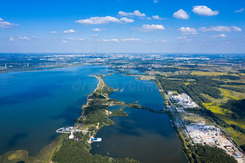 Aerial view of the Blue Lakes royalty free stock image