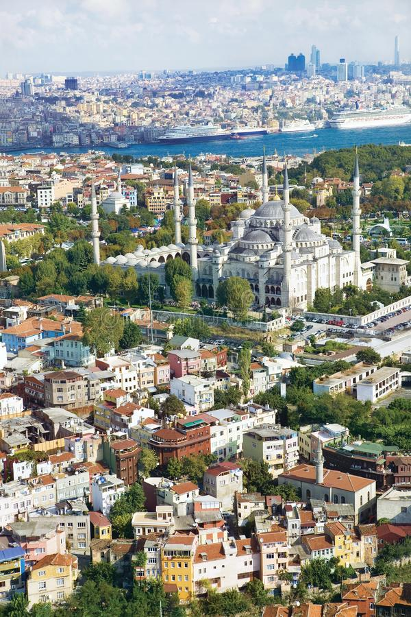 Aerial view of Blue Mosque istanbul Turkey. stock photos