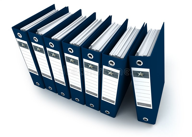 Aerial view of blue ring binders in a row royalty free illustration