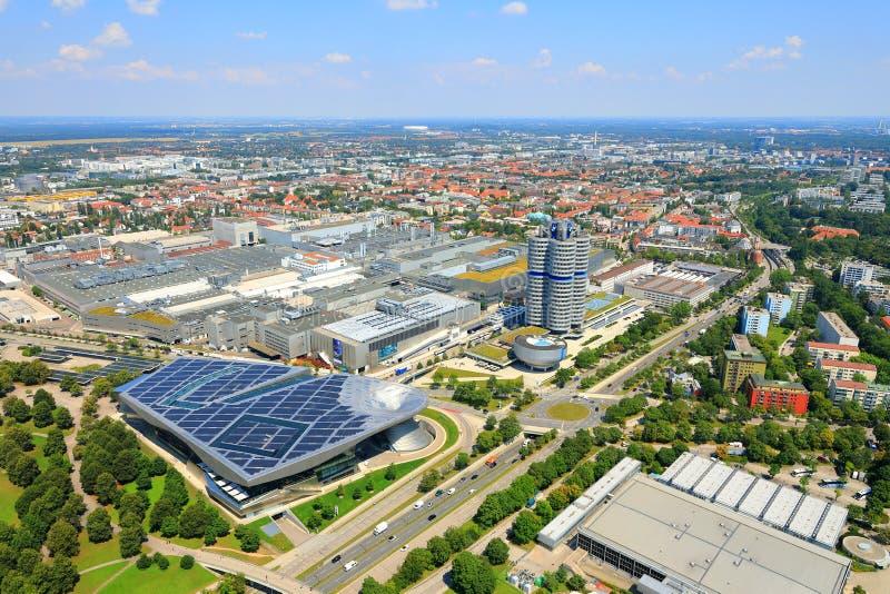 Aerial view of BMW World Welt, BMW Headquarters BMW-Vierzylinder, BMW Hochhaus and BMW Museum, Munich München, Bavaria Baye. The BMW Headquarters is a Munich royalty free stock image