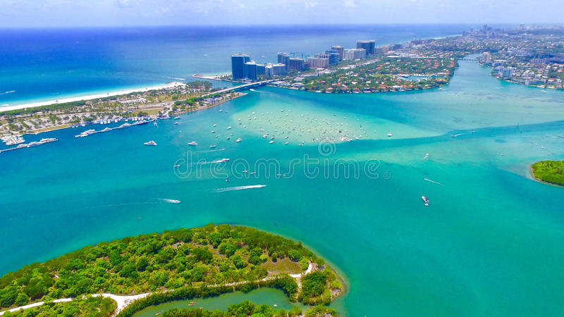 Aerial View of Boating in Miami Beach Florida stock images