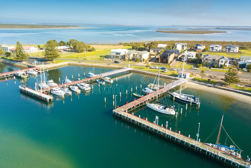 Aerial view of boats in the harbour, Port Albert stock photo