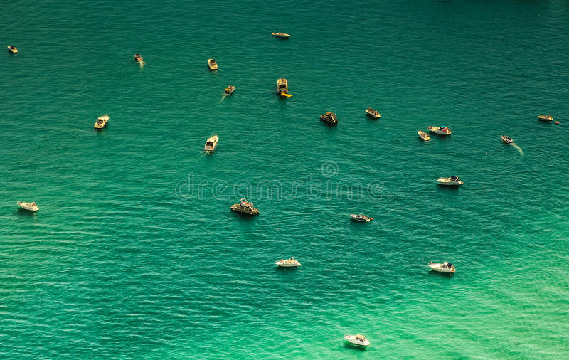 Aerial view of boats in the lake stock photos