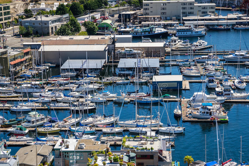 Aerial view of boats moored on Lake Union Seattle Washington royalty free stock image