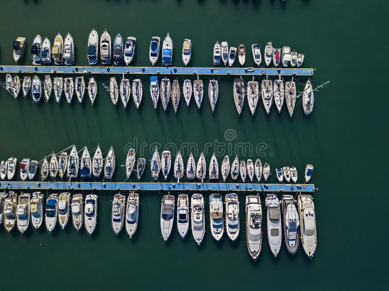 Aerial view of boats moored at the Port of Tropea, Calabria, Italy stock images