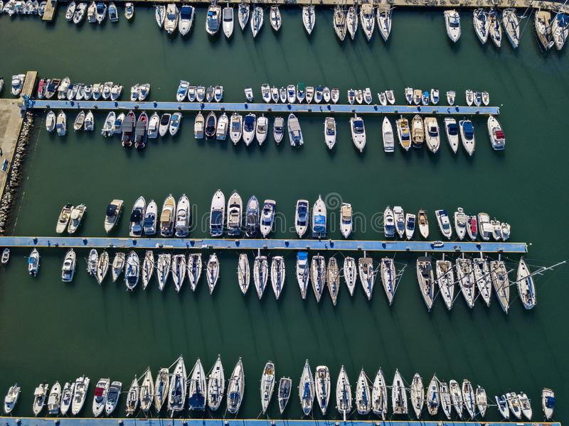 Aerial view of boats moored at the Port of Tropea, Calabria, Italy stock photo