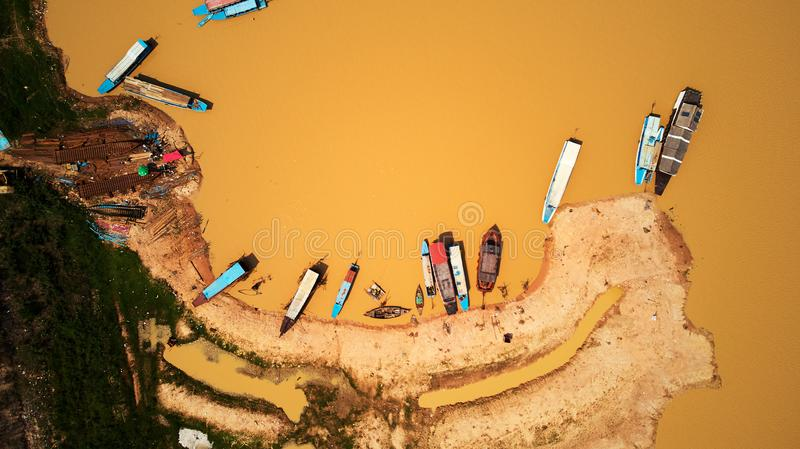 Aerial view of boats in Siem-Reap Tonle Sap Cambodia. Drone Aerial view of boats in Siem-Reap Tonle Sap Cambodia stock photos