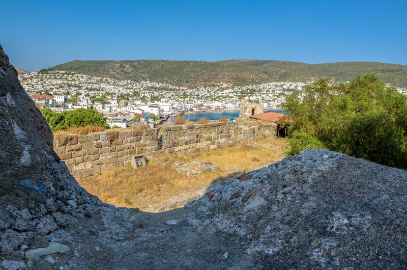 Aerial view of Bodrum houses from top of St. Peter Castle or Bodrum Castle. In Turkey stock photo