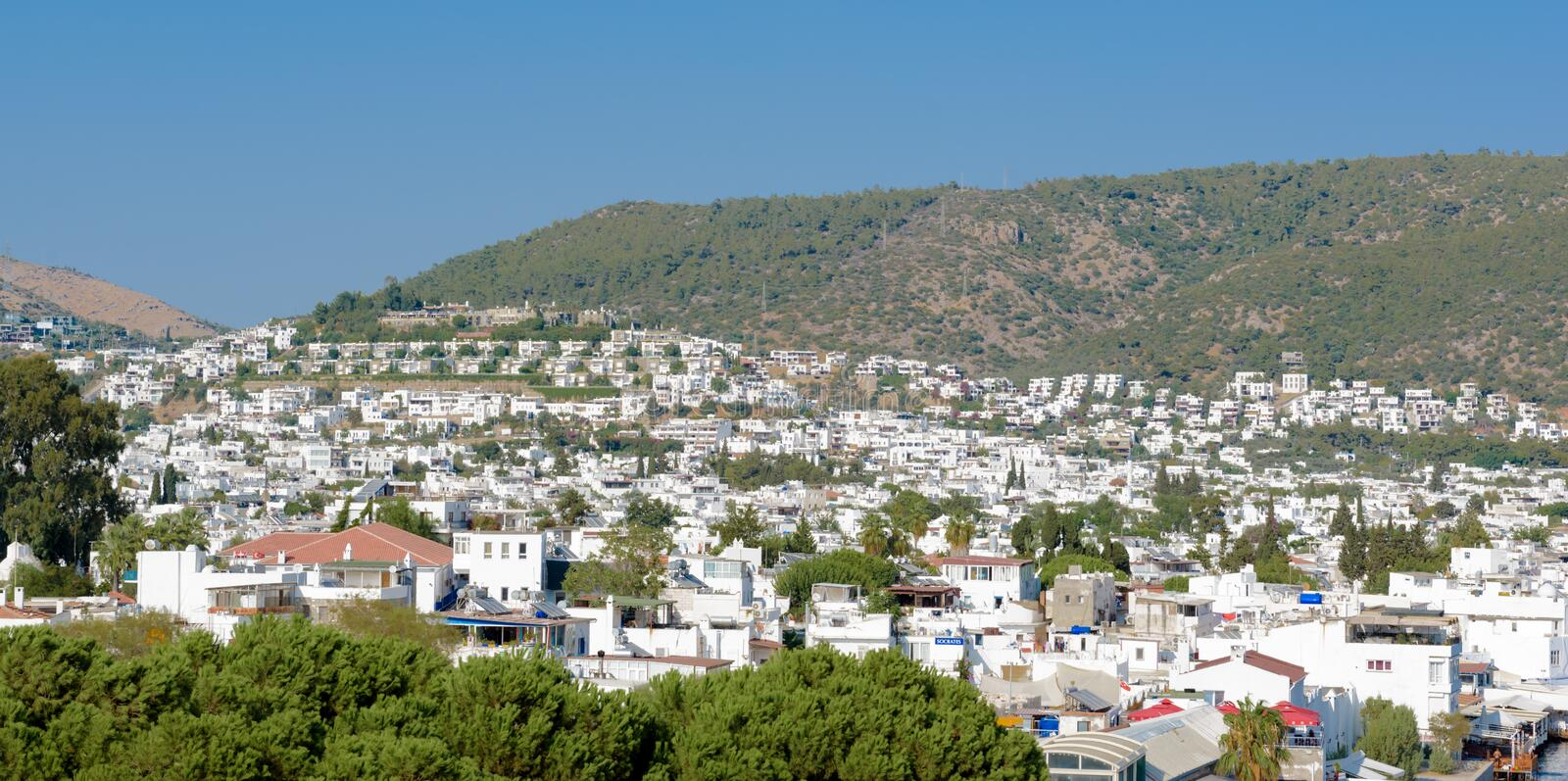 Aerial view of Bodrum houses from top of St. Peter Castle or Bodrum Castle. In Turkey stock images