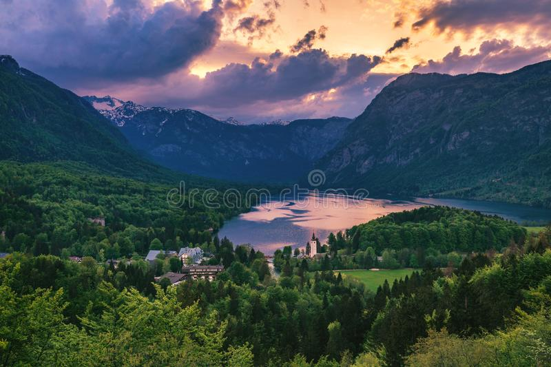 Aerial view of Bohinj lake in Julian Alps. Breathtaking view of royalty free stock photo