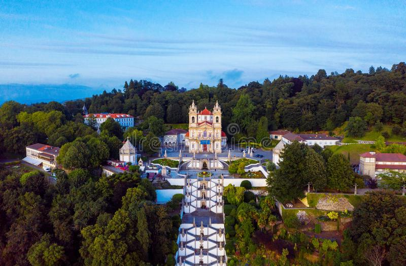 Aerial view of Bom Jesus do Monte Cathedral in Braga, Portugal during the evening royalty free stock photo