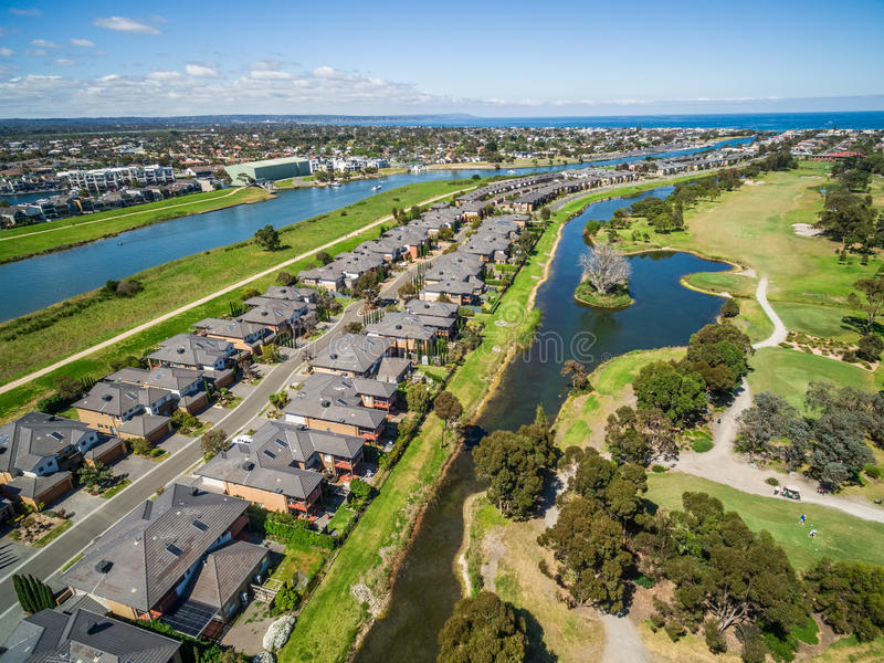Aerial view of Bonbeach suburb and Patterson river in Melbourne, Australia. Aerial view of Bonbeach suburb and Patterson river on bright sunny day. Melbourne stock images