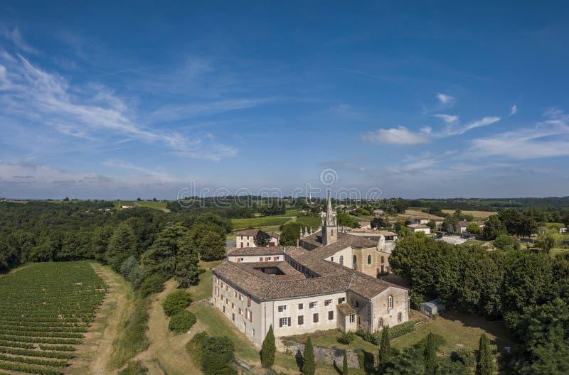 Aerial view Bordeaux Vineyard at sunrise, Entre deux mers, Rions. Aerial view Bordeaux Vineyard at sunrise,film by drone in summer, Entre deux mers, Rions stock photo