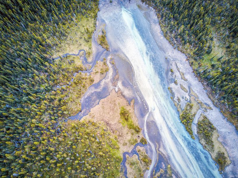 Aerial view of Bow river tributary, Banff National Park, Alberta royalty free stock photography