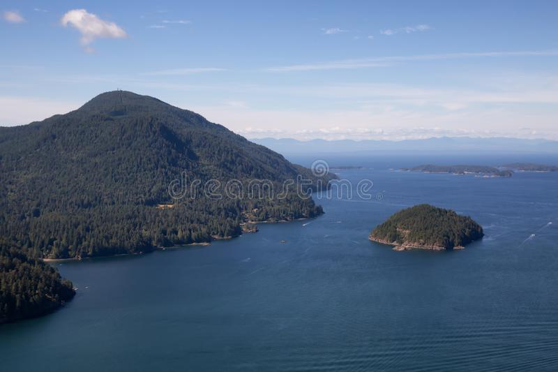 Aerial view of Bowen Island stock photography