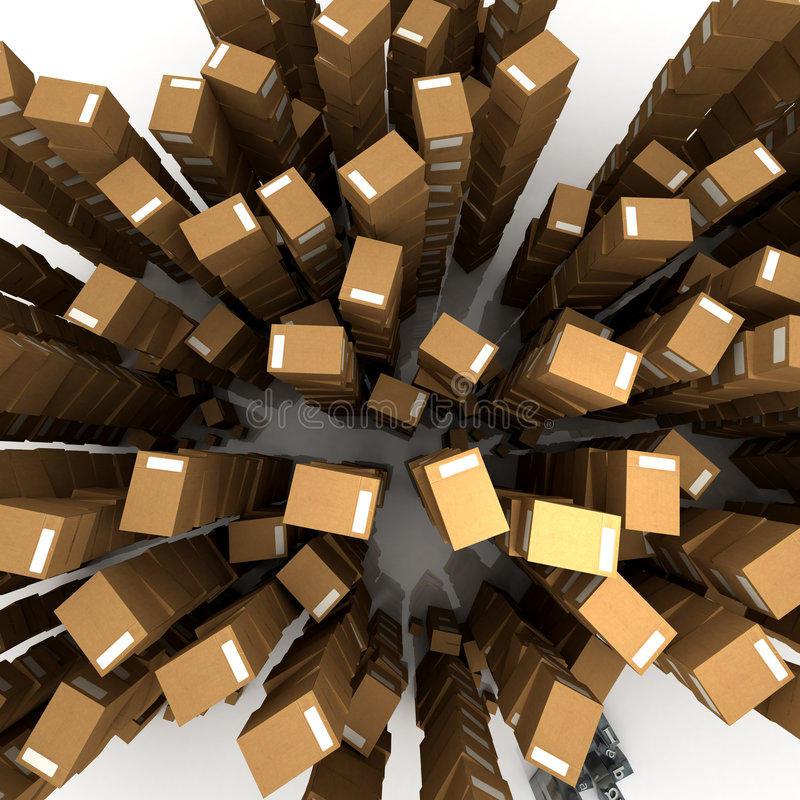 Aerial view of boxes in piles vector illustration