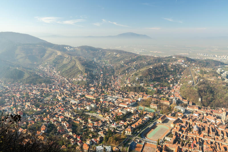 Aerial View Of Brasov City In The Carpathian Mountains stock photo