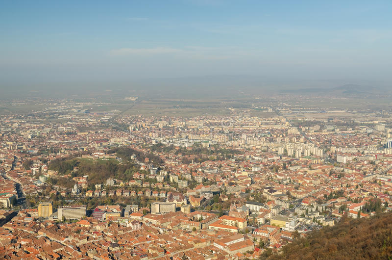 Aerial View Of Brasov City In The Carpathian Mountains stock images